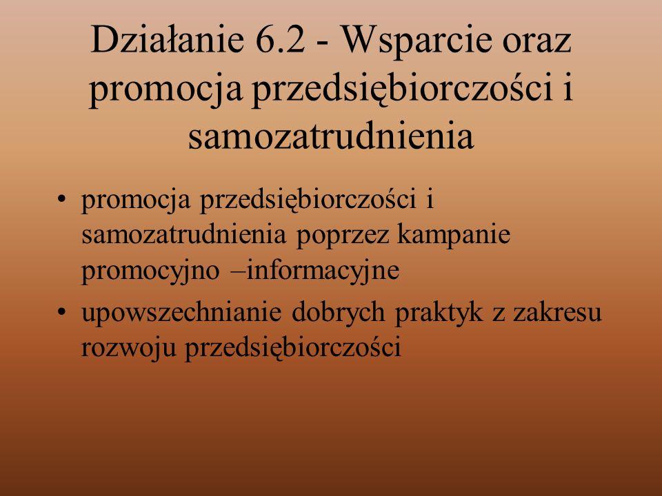 Działanie 6.2 - Wsparcie oraz promocja przedsiębiorczości i samozatrudnienia promocja przedsiębiorczości i samozatrudnienia poprzez kampanie promocyjn