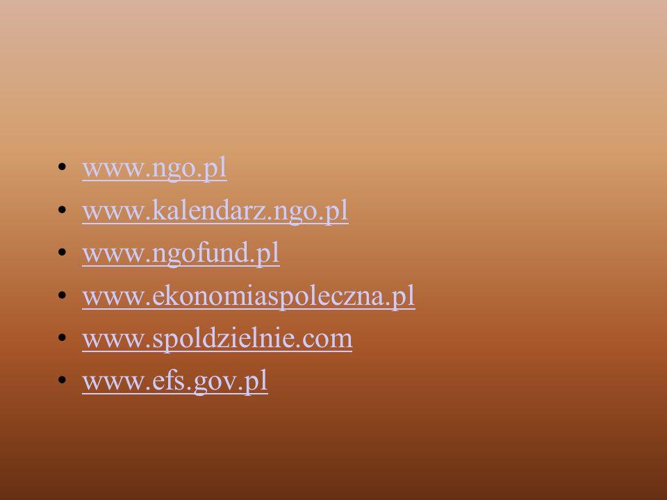 www.ngo.pl www.kalendarz.ngo.pl www.ngofund.pl www.ekonomiaspoleczna.pl www.spoldzielnie.com www.efs.gov.pl