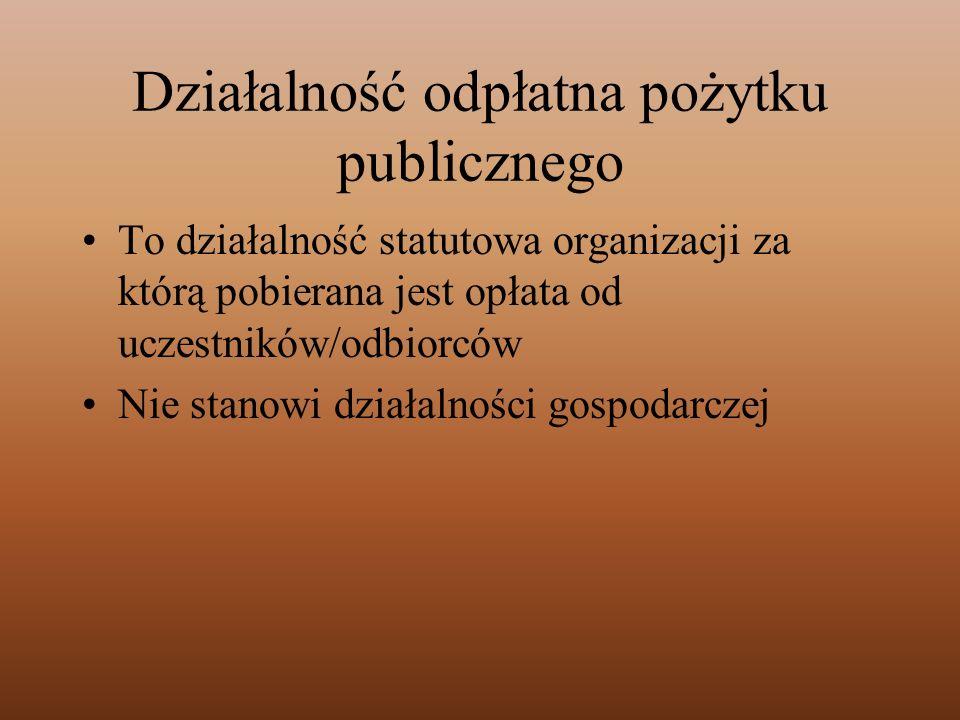 Działalność odpłatna pożytku publicznego To działalność statutowa organizacji za którą pobierana jest opłata od uczestników/odbiorców Nie stanowi dzia