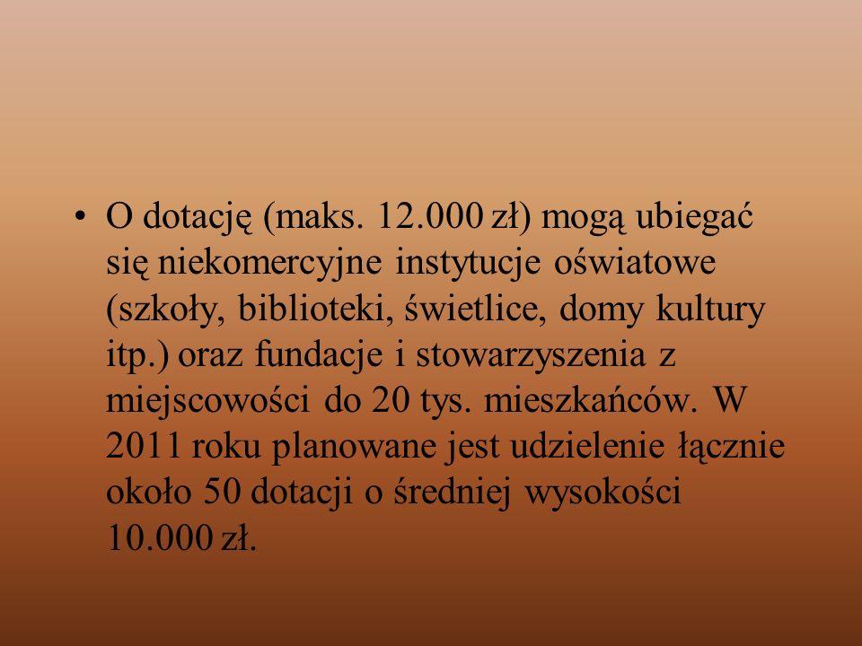 O dotację (maks. 12.000 zł) mogą ubiegać się niekomercyjne instytucje oświatowe (szkoły, biblioteki, świetlice, domy kultury itp.) oraz fundacje i sto