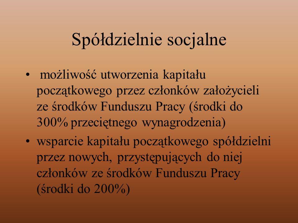 Spółdzielnie socjalne możliwość utworzenia kapitału początkowego przez członków założycieli ze środków Funduszu Pracy (środki do 300% przeciętnego wyn