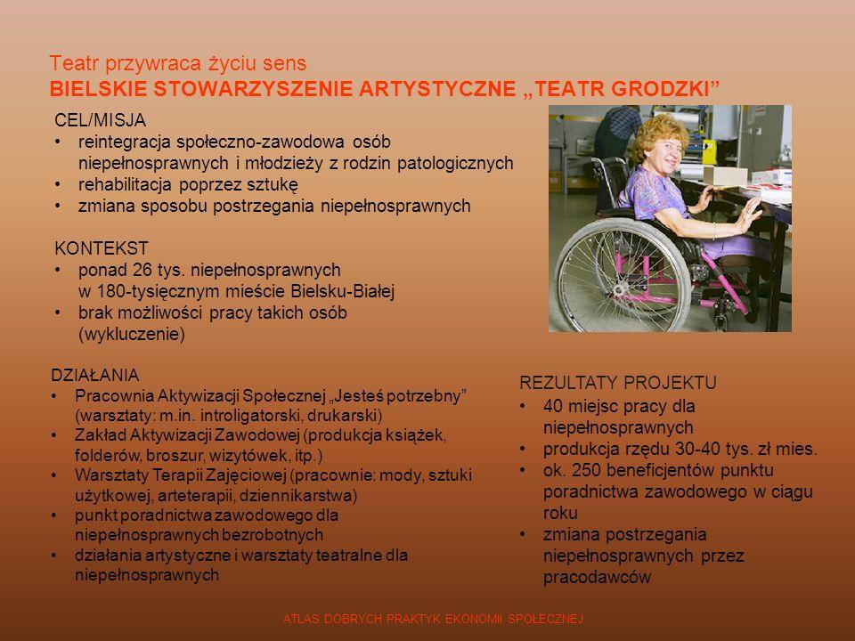 ATLAS DOBRYCH PRAKTYK EKONOMII SPOŁECZNEJ CEL/MISJA reintegracja społeczno-zawodowa osób niepełnosprawnych i młodzieży z rodzin patologicznych rehabil