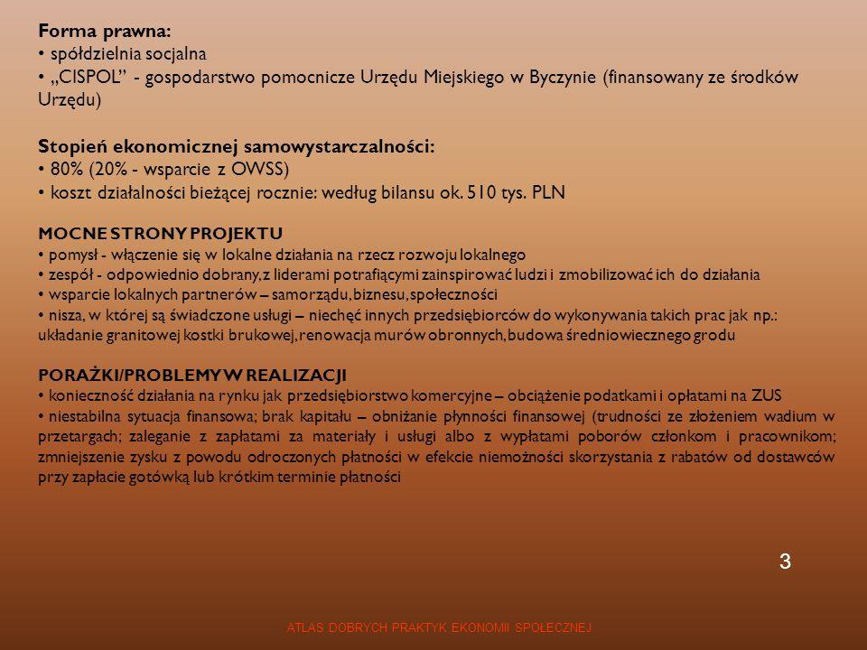 ATLAS DOBRYCH PRAKTYK EKONOMII SPOŁECZNEJ CEL/MISJA aktywizacja i rehabilitacja społeczno-zawodowa osób niepełnosprawnych, szczególnie chorujących psychicznie ochrona środowiska edukacja ekologiczna społeczeństwa KONTEKST ponad 5,2 mln osób niepełnosprawnych w Polsce słaba aktywność zawodowa tej grupy marginalizacja szczególnie chorych psychicznie stereotyp, że upośledzeni umysłowo nie mogą być dobrymi pracownikami REZULTATY PROJEKTU 845 miejsc pracy dla niepełnosprawnych w Warszawie zbiórka odpadów z 60 tys.