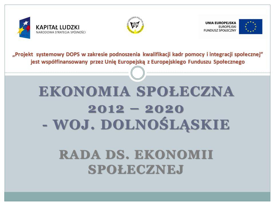 EKONOMIA SPOŁECZNA 2012 – 2020 - WOJ. DOLNOŚLĄSKIE RADA DS. EKONOMII SPOŁECZNEJ Projekt systemowy DOPS w zakresie podnoszenia kwalifikacji kadr pomocy