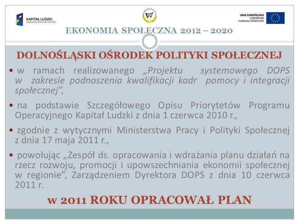 EKONOMIA SPOŁECZNA 2012 – 2020 DOLNOŚLĄSKI OŚRODEK POLITYKI SPOŁECZNEJ w ramach realizowanego Projektu systemowego DOPS w zakresie podnoszenia kwalifi