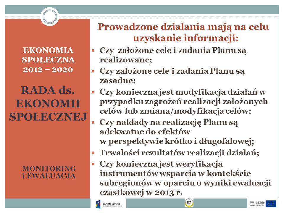 EKONOMIA SPOŁECZNA 2012 – 2020 RADA ds. EKONOMII SPOŁECZNEJ MONITORING i EWALUACJA Prowadzone działania mają na celu uzyskanie informacji: Czy założon
