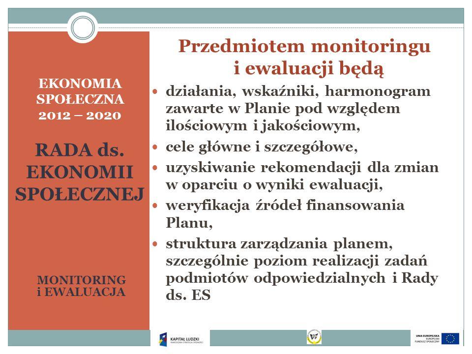 EKONOMIA SPOŁECZNA 2012 – 2020 RADA ds. EKONOMII SPOŁECZNEJ MONITORING i EWALUACJA Przedmiotem monitoringu i ewaluacji będą działania, wskaźniki, harm
