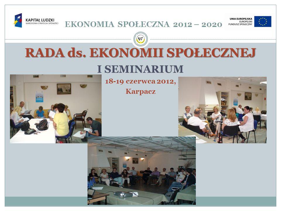 EKONOMIA SPOŁECZNA 2012 – 2020 RADA ds. EKONOMII SPOŁECZNEJ I SEMINARIUM 18-19 czerwca 2012, Karpacz