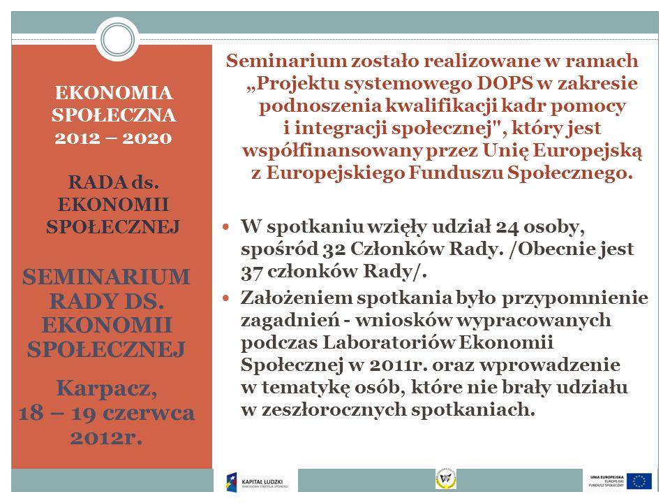 EKONOMIA SPOŁECZNA 2012 – 2020 RADA ds. EKONOMII SPOŁECZNEJ SEMINARIUM RADY DS. EKONOMII SPOŁECZNEJ Karpacz, 18 – 19 czerwca 2012r. Seminarium zostało
