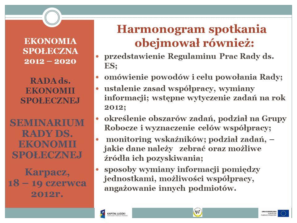 EKONOMIA SPOŁECZNA 2012 – 2020 RADA ds. EKONOMII SPOŁECZNEJ SEMINARIUM RADY DS. EKONOMII SPOŁECZNEJ Karpacz, 18 – 19 czerwca 2012r. Harmonogram spotka