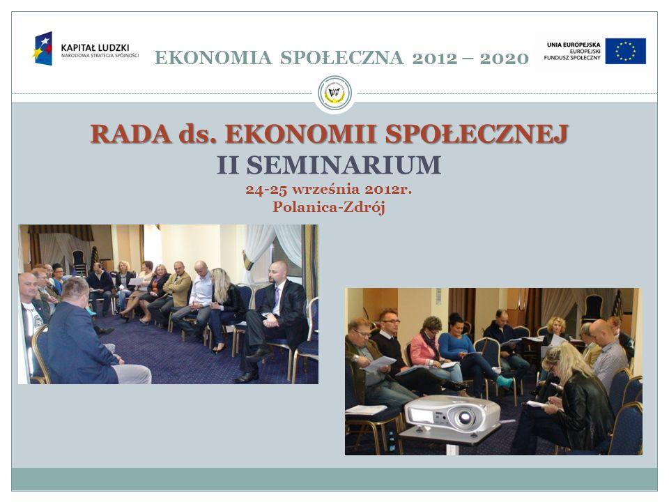 EKONOMIA SPOŁECZNA 2012 – 2020 RADA ds. EKONOMII SPOŁECZNEJ II SEMINARIUM 24-25 września 2012r. Polanica-Zdrój