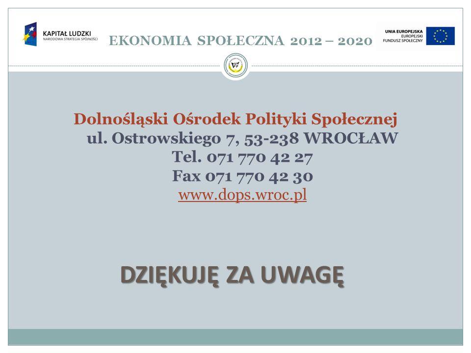 EKONOMIA SPOŁECZNA 2012 – 2020 Dolnośląski Ośrodek Polityki Społecznej ul. Ostrowskiego 7, 53-238 WROCŁAW Tel. 071 770 42 27 Fax 071 770 42 30 www.dop
