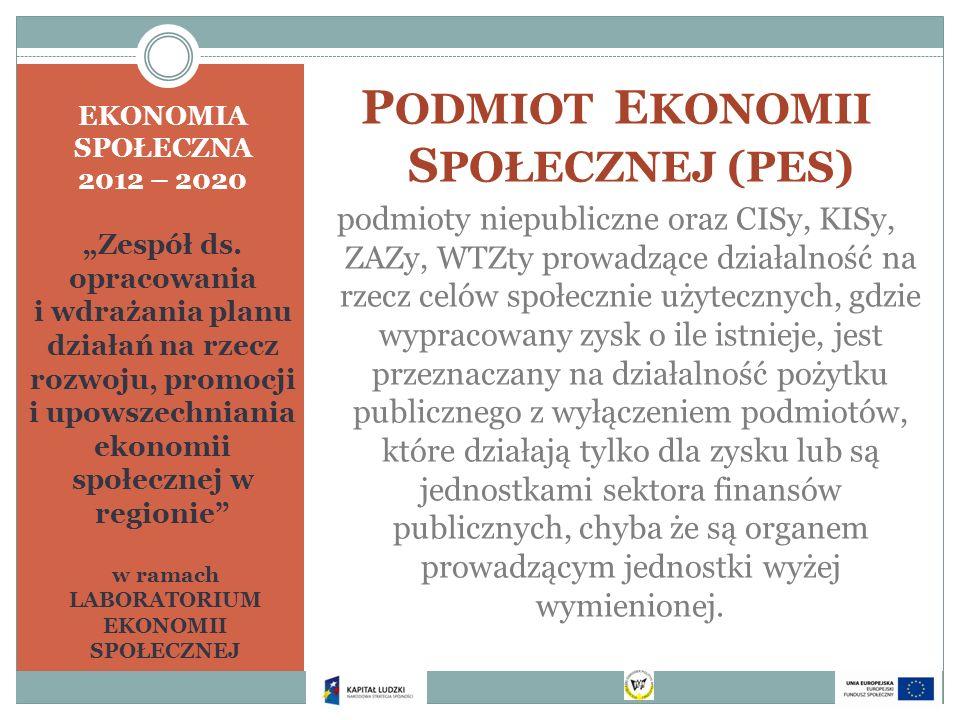 EKONOMIA SPOŁECZNA 2012 – 2020 Zespół ds. opracowania i wdrażania planu działań na rzecz rozwoju, promocji i upowszechniania ekonomii społecznej w reg