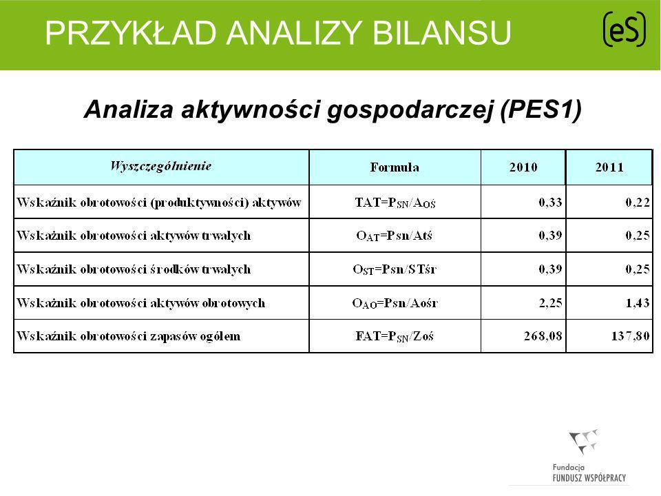PRZYKŁAD ANALIZY BILANSU Analiza aktywności gospodarczej (PES1)