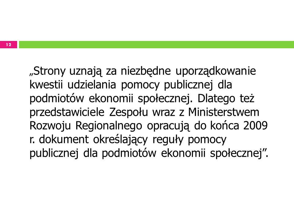 12 Strony uznają za niezbędne uporządkowanie kwestii udzielania pomocy publicznej dla podmiotów ekonomii społecznej. Dlatego też przedstawiciele Zespo