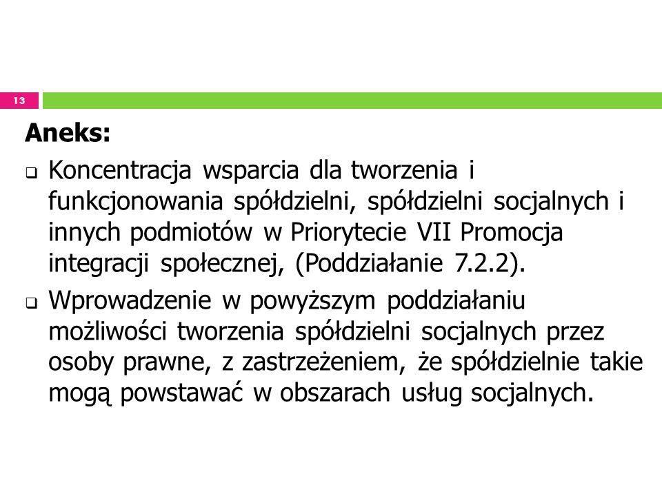 13 Aneks: Koncentracja wsparcia dla tworzenia i funkcjonowania spółdzielni, spółdzielni socjalnych i innych podmiotów w Priorytecie VII Promocja integ