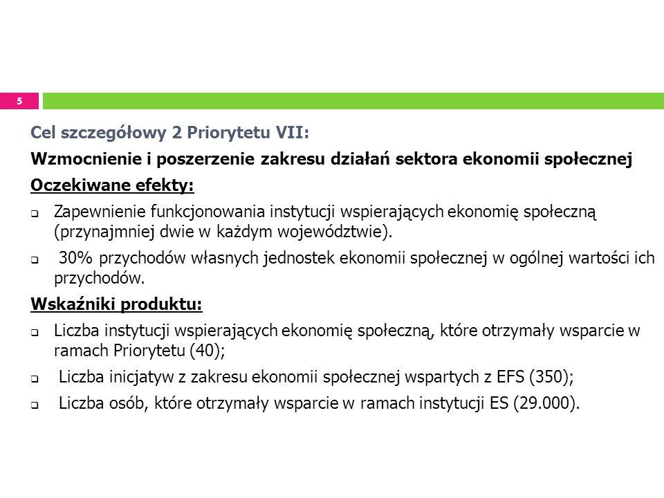 5 Cel szczegółowy 2 Priorytetu VII: Wzmocnienie i poszerzenie zakresu działań sektora ekonomii społecznej Oczekiwane efekty: Zapewnienie funkcjonowani