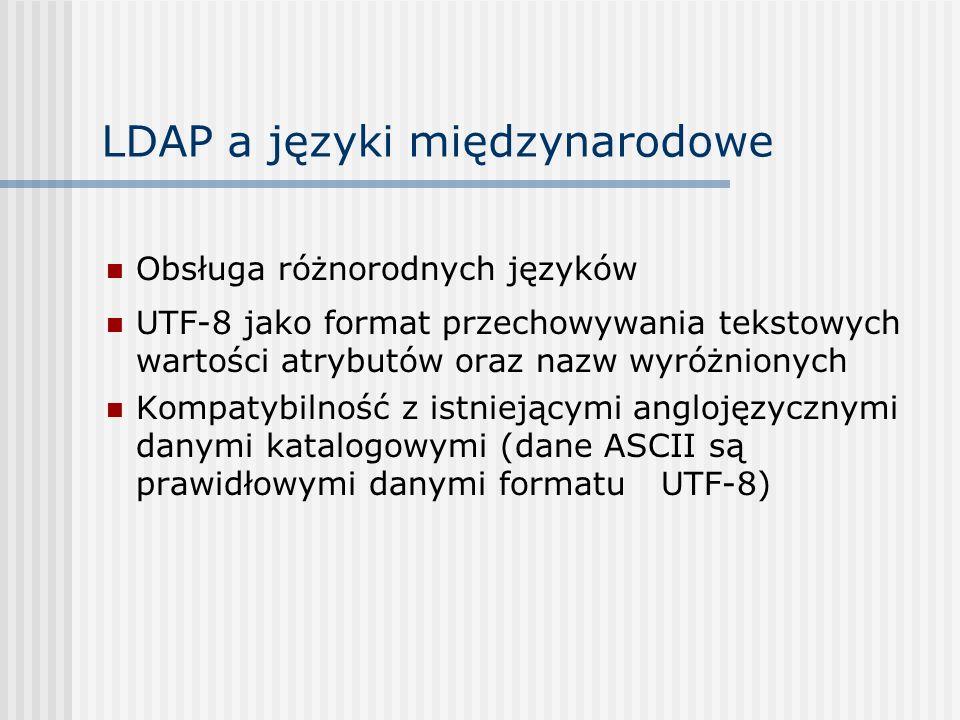 LDAP a języki międzynarodowe Obsługa różnorodnych języków UTF-8 jako format przechowywania tekstowych wartości atrybutów oraz nazw wyróżnionych Kompatybilność z istniejącymi anglojęzycznymi danymi katalogowymi (dane ASCII są prawidłowymi danymi formatu UTF-8)