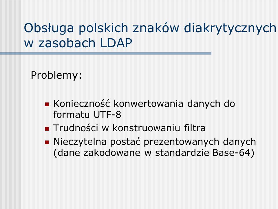 Obsługa polskich znaków diakrytycznych w zasobach LDAP Problemy: Konieczność konwertowania danych do formatu UTF-8 Trudności w konstruowaniu filtra Nieczytelna postać prezentowanych danych (dane zakodowane w standardzie Base-64)