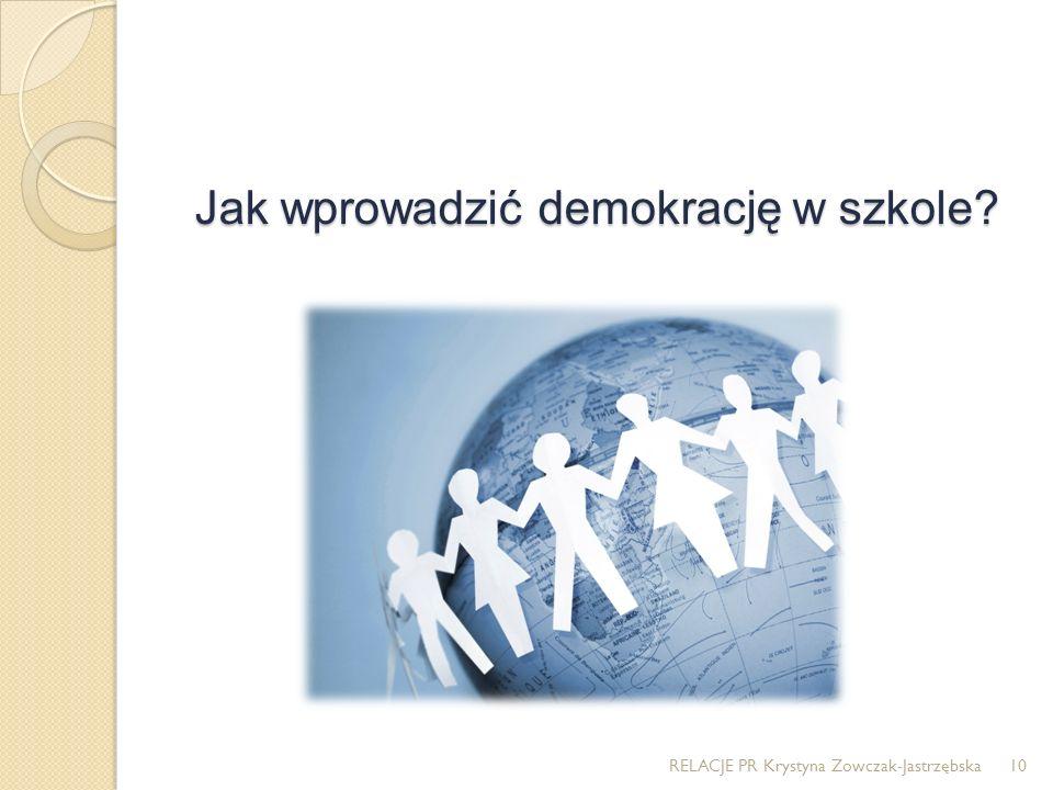 Jak wprowadzić demokrację w szkole? RELACJE PR Krystyna Zowczak-Jastrzębska10