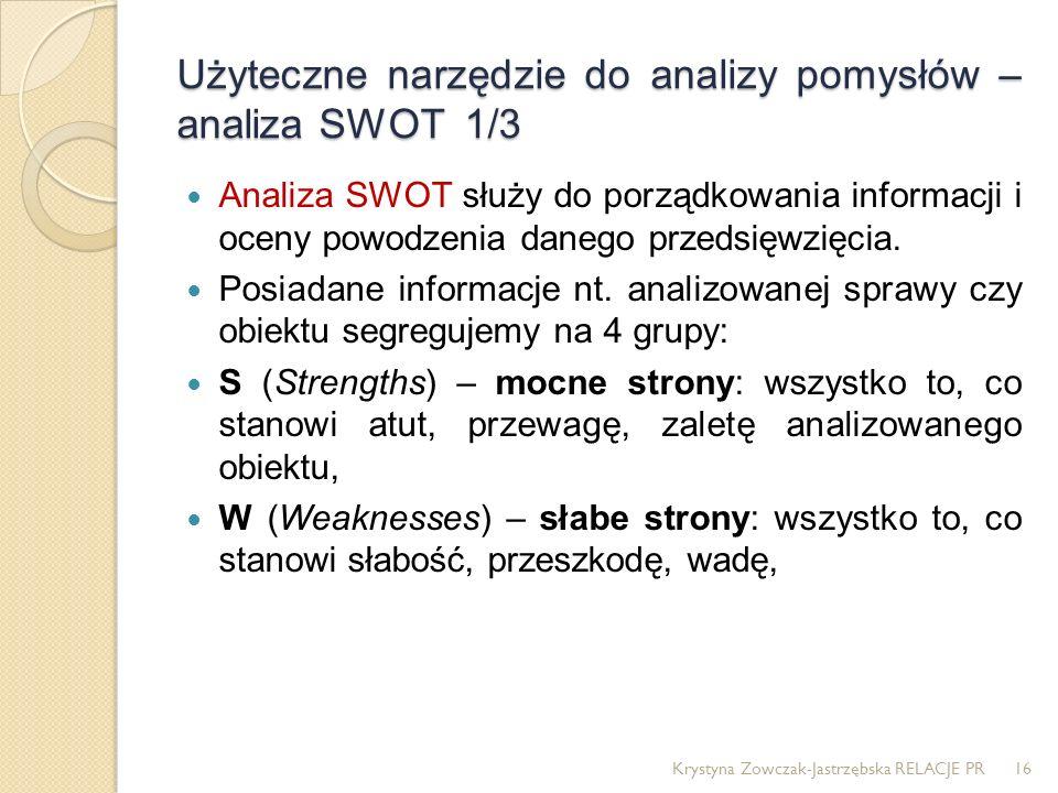 Użyteczne narzędzie do analizy pomysłów – analiza SWOT 1/3 Analiza SWOT służy do porządkowania informacji i oceny powodzenia danego przedsięwzięcia. P