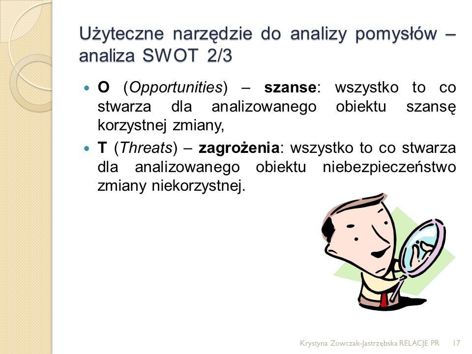 Użyteczne narzędzie do analizy pomysłów – analiza SWOT 2/3 O (Opportunities) – szanse: wszystko to co stwarza dla analizowanego obiektu szansę korzyst
