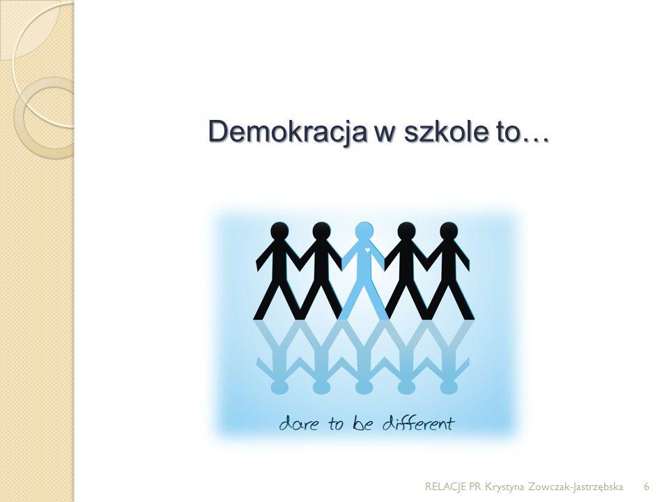 Demokracja w szkole to… RELACJE PR Krystyna Zowczak-Jastrzębska6