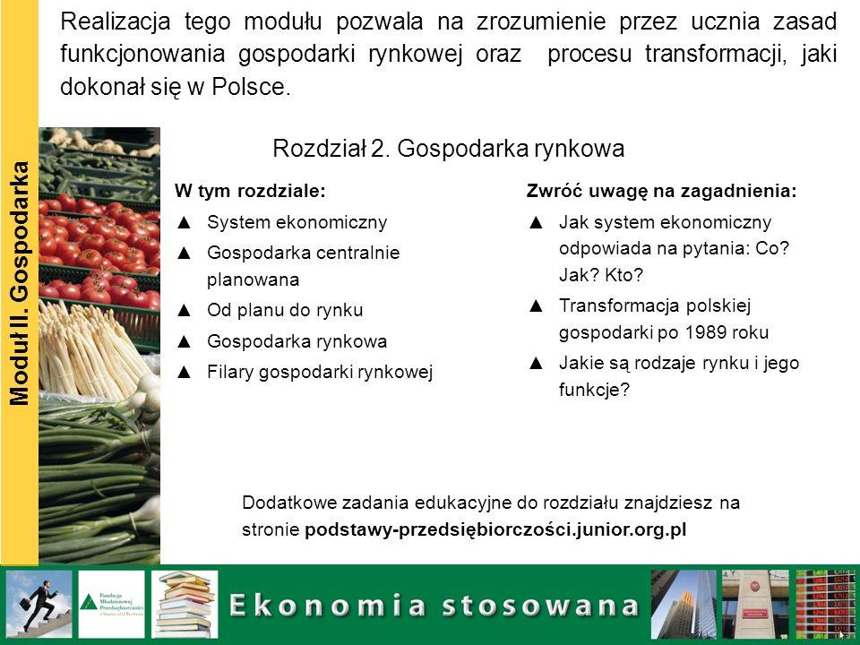 Moduł II. Gospodarka W tym rozdziale: System ekonomiczny Gospodarka centralnie planowana Od planu do rynku Gospodarka rynkowa Filary gospodarki rynkow