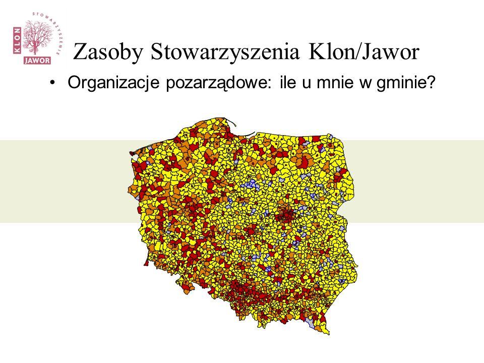 Zasoby Stowarzyszenia Klon/Jawor Organizacje pozarządowe: ile u mnie w gminie?