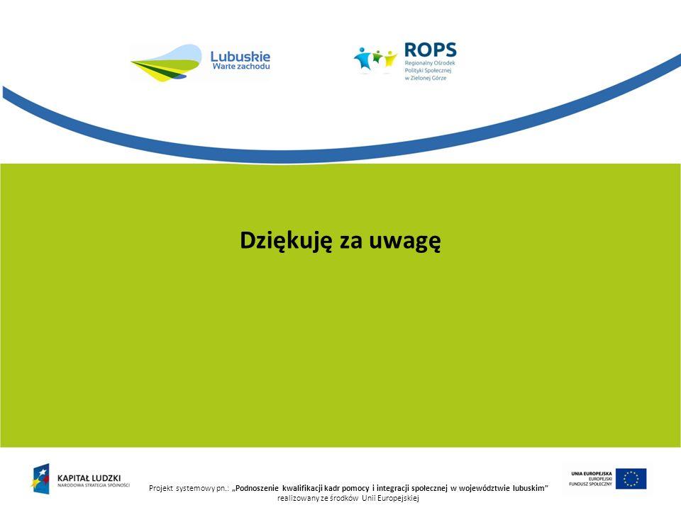 Projekt systemowy pn.: Podnoszenie kwalifikacji kadr pomocy i integracji społecznej w województwie lubuskim realizowany ze środków Unii Europejskiej D