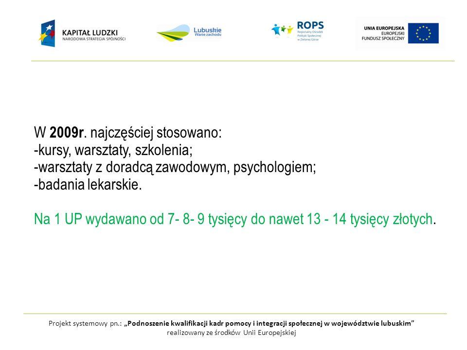 Projekt systemowy pn.: Podnoszenie kwalifikacji kadr pomocy i integracji społecznej w województwie lubuskim realizowany ze środków Unii Europejskiej Najczęstsze problemy związane z realizacją projektów w ww latach, które zgłaszali Beneficjenci to: -brak chęci uczestnictwa klientów w aktywizacji; -konieczność pilnowania przez pracowników socjalnych dyscypliny UP (zwłaszcza obecności) podczas kursów; -przypominania o terminach kursów, dowożenia na warsztaty, kursy; -domagania się wsparcia finansowego przez UP ( co i ile z tego będę mieć); -konieczności przygotowywania przez pracowników socjalnych posiłków lub zamawiania cateringu; -wyrejestrowywanie klientów JOPS przez Powiatowe Urzędy Pracy; -późne otrzymywanie środków finansowych umożliwiających realizację projektów.