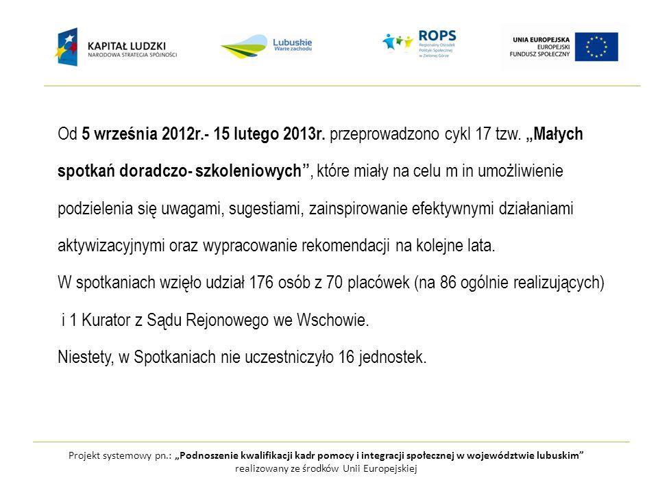 Projekt systemowy pn.: Podnoszenie kwalifikacji kadr pomocy i integracji społecznej w województwie lubuskim realizowany ze środków Unii Europejskiej Wnioski Małych spotkań… : -Zauważa się wyraźną różnicę w sposobie przedstawiania realizacji projektu przez jednostki, które zadanie nr 1 Aktywna integracja we wniosku o dofinansowanie zapisały na dużym poziomie ogólności.