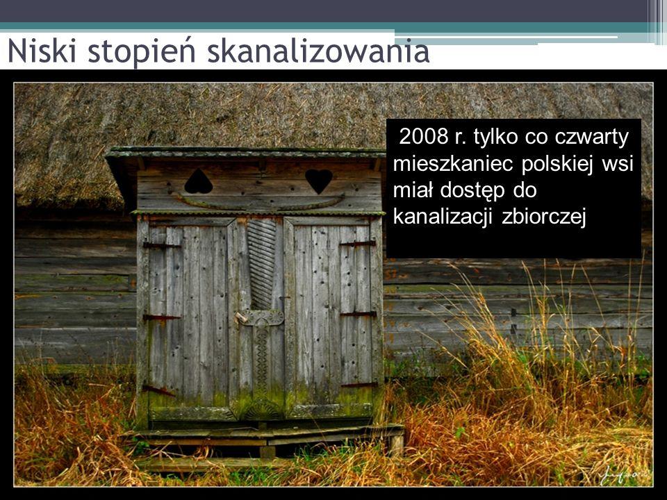 Niski stopień skanalizowania 2008 r. tylko co czwarty mieszkaniec polskiej wsi miał dostęp do kanalizacji zbiorczej zbiorczej,