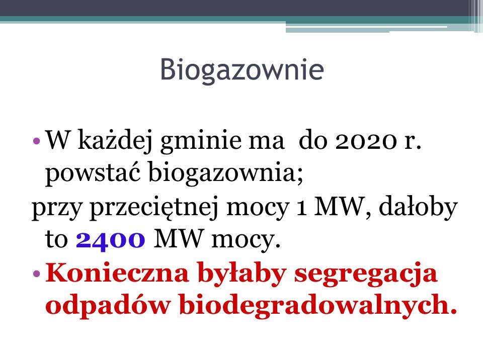 Biogazownie W każdej gminie ma do 2020 r. powstać biogazownia; przy przeciętnej mocy 1 MW, dałoby to 2400 MW mocy. Konieczna byłaby segregacja odpadów