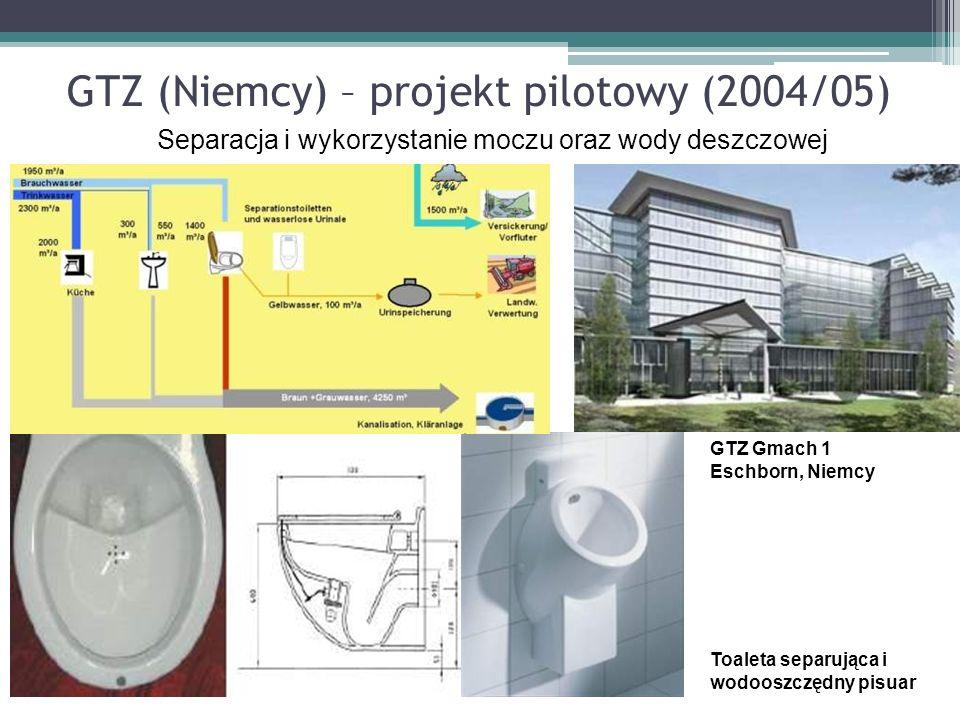 Toaleta separująca i wodooszczędny pisuar GTZ (Niemcy) – projekt pilotowy (2004/05) GTZ Gmach 1 Eschborn, Niemcy Separacja i wykorzystanie moczu oraz