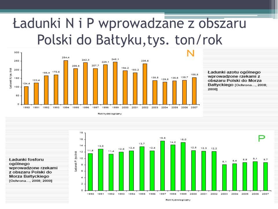 Ładunki N i P wprowadzane z obszaru Polski do Bałtyku,tys. ton/rok