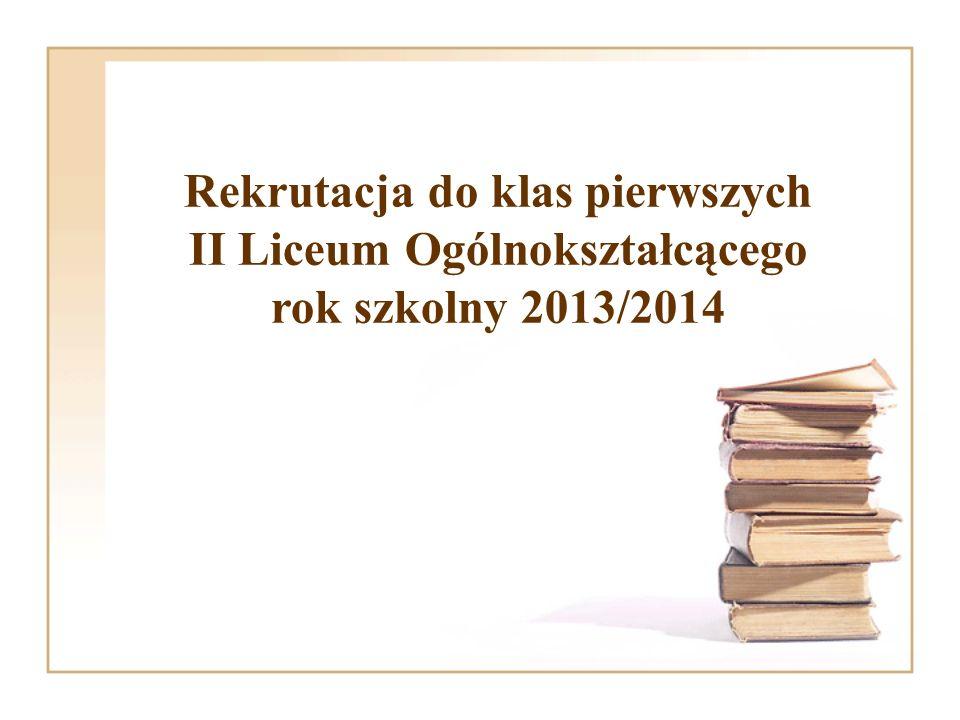 Rekrutacja do klas pierwszych II Liceum Ogólnokształcącego rok szkolny 2013/2014