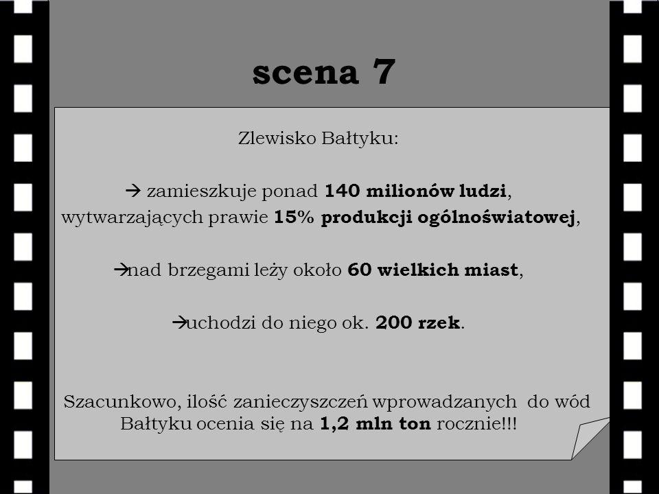 scena 7 Zlewisko Bałtyku: zamieszkuje ponad 140 milionów ludzi, wytwarzających prawie 15% produkcji ogólnoświatowej, nad brzegami leży około 60 wielkich miast, uchodzi do niego ok.