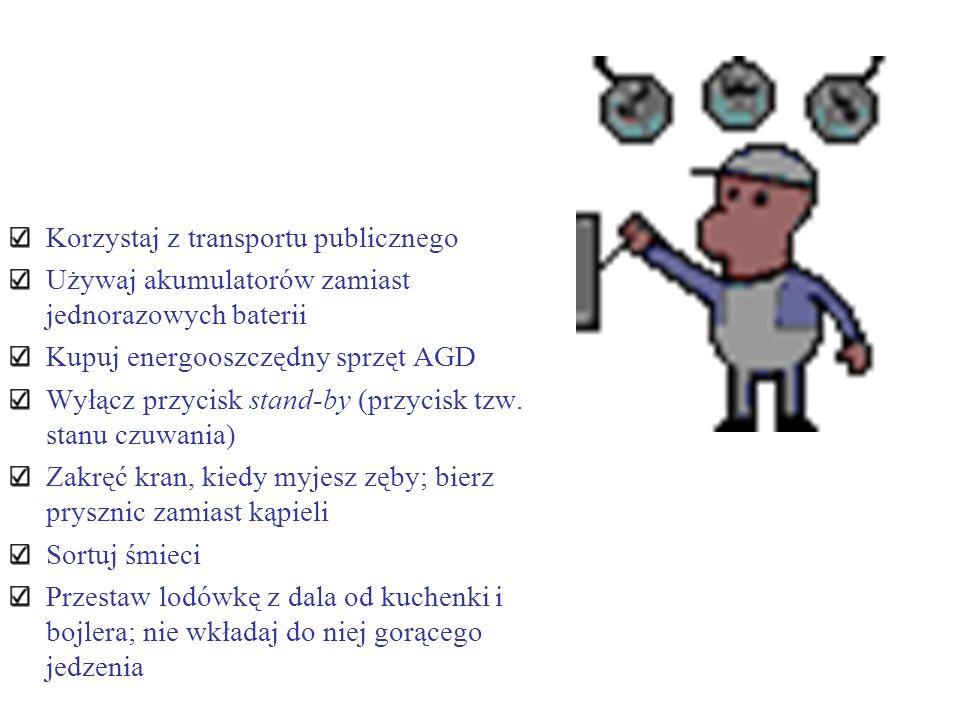 Korzystaj z transportu publicznego Używaj akumulatorów zamiast jednorazowych baterii Kupuj energooszczędny sprzęt AGD Wyłącz przycisk stand-by (przyci