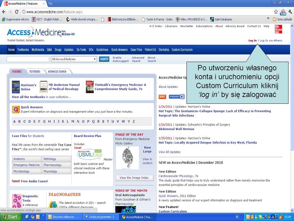 Po utworzeniu własnego konta i uruchomieniu opcji Custom Curriculum kliknij log in by się zalogować