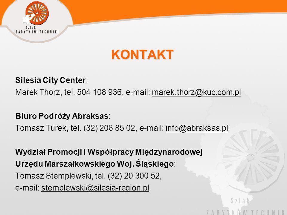 KONTAKT Silesia City Center: Marek Thorz, tel. 504 108 936, e-mail: marek.thorz@kuc.com.pl Biuro Podróży Abraksas: Tomasz Turek, tel. (32) 206 85 02,