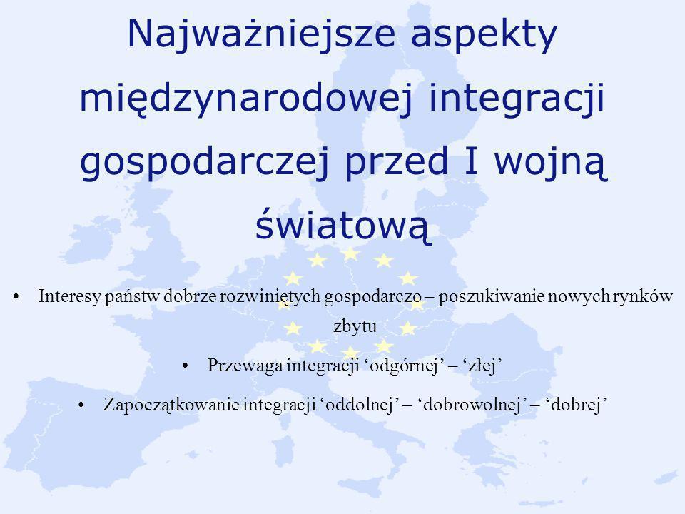 Najważniejsze aspekty międzynarodowej integracji gospodarczej przed I wojną światową Interesy państw dobrze rozwiniętych gospodarczo – poszukiwanie no