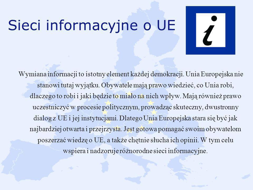 Sieci informacyjne o UE Wymiana informacji to istotny element każdej demokracji. Unia Europejska nie stanowi tutaj wyjątku. Obywatele mają prawo wiedz
