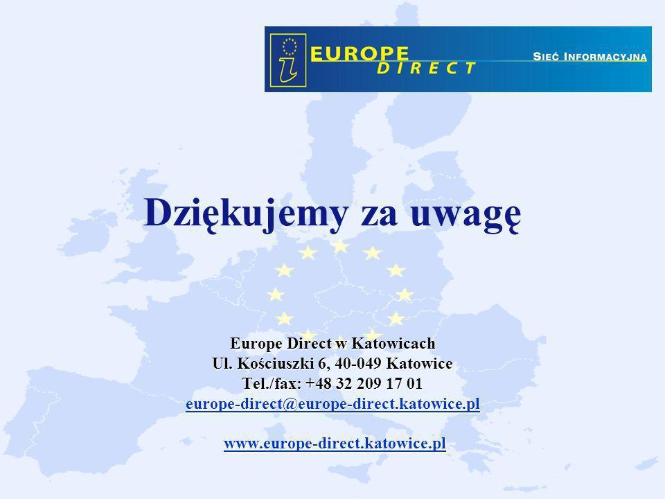 Europe Direct w Katowicach Ul. Kościuszki 6, 40-049 Katowice Tel./fax: +48 32 209 17 01 europe-direct@europe-direct.katowice.pl www.europe-direct.kato
