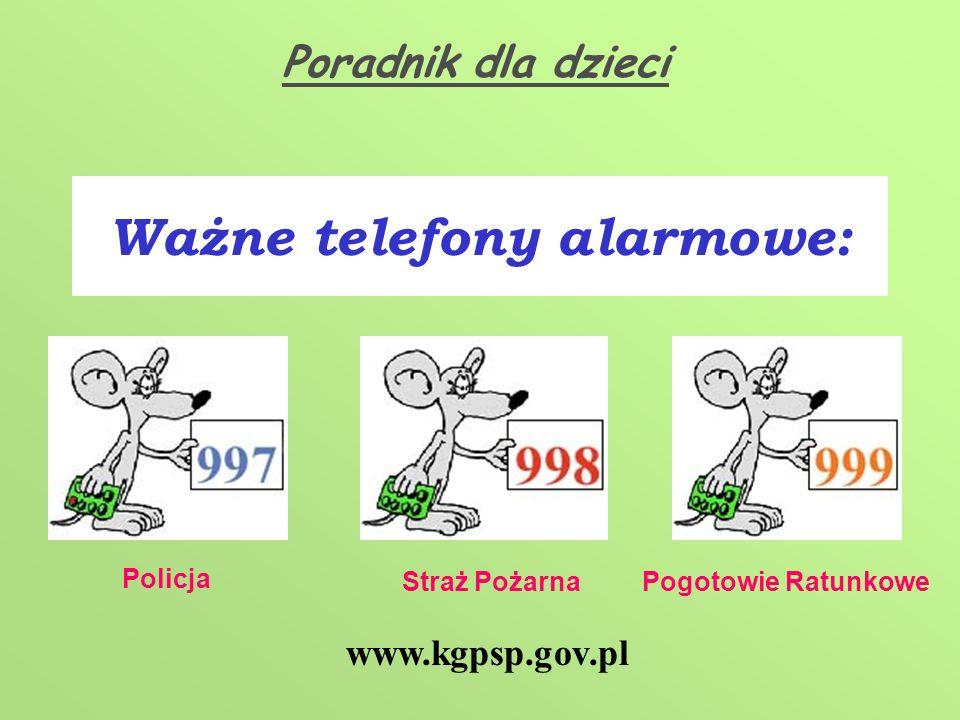 Ważne telefony alarmowe: Policja Straż PożarnaPogotowie Ratunkowe www.kgpsp.gov.pl Poradnik dla dzieci