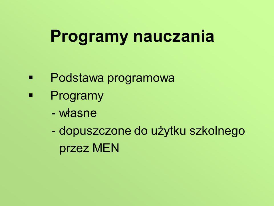 Programy nauczania Podstawa programowa Programy - własne - dopuszczone do użytku szkolnego przez MEN