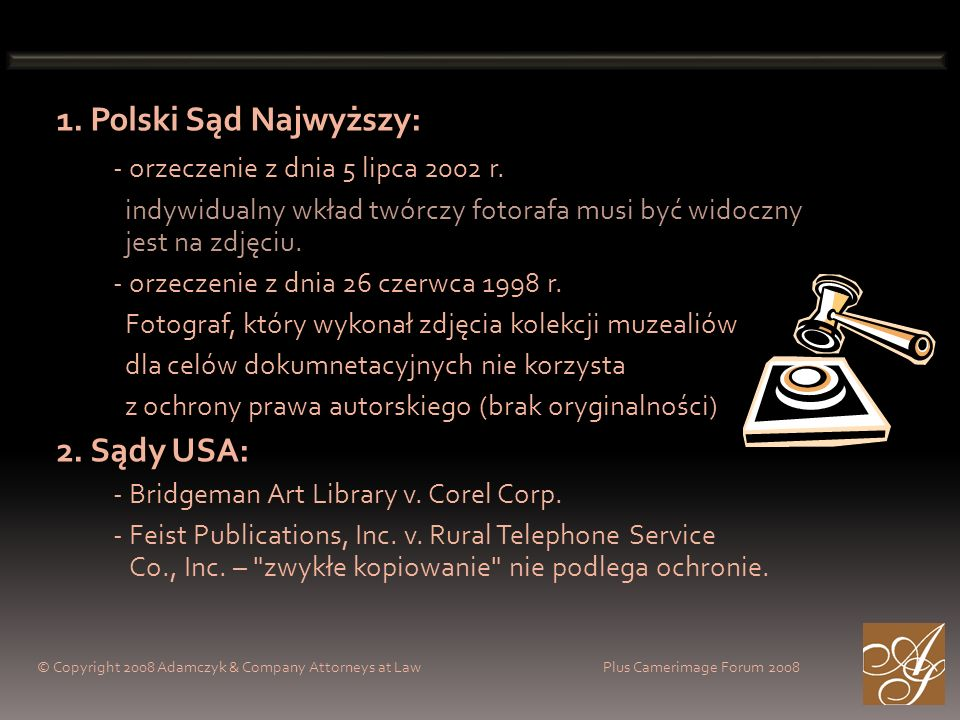 1. Polski Sąd Najwyższy: - orzeczenie z dnia 5 lipca 2002 r. indywidualny wkład twórczy fotorafa musi być widoczny jest na zdjęciu. - orzeczenie z dni