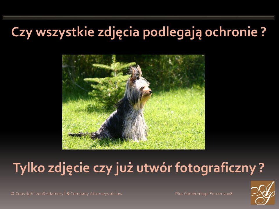 Czy wszystkie zdjęcia podlegają ochronie ? Tylko zdjęcie czy już utwór fotograficzny ? © Copyright 2008 Adamczyk & Company Attorneys at Law Plus Camer
