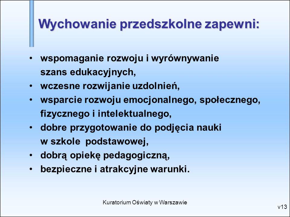 Kuratorium Oświaty w Warszawie v13 wspomaganie rozwoju i wyrównywanie szans edukacyjnych, wczesne rozwijanie uzdolnień, wsparcie rozwoju emocjonalnego