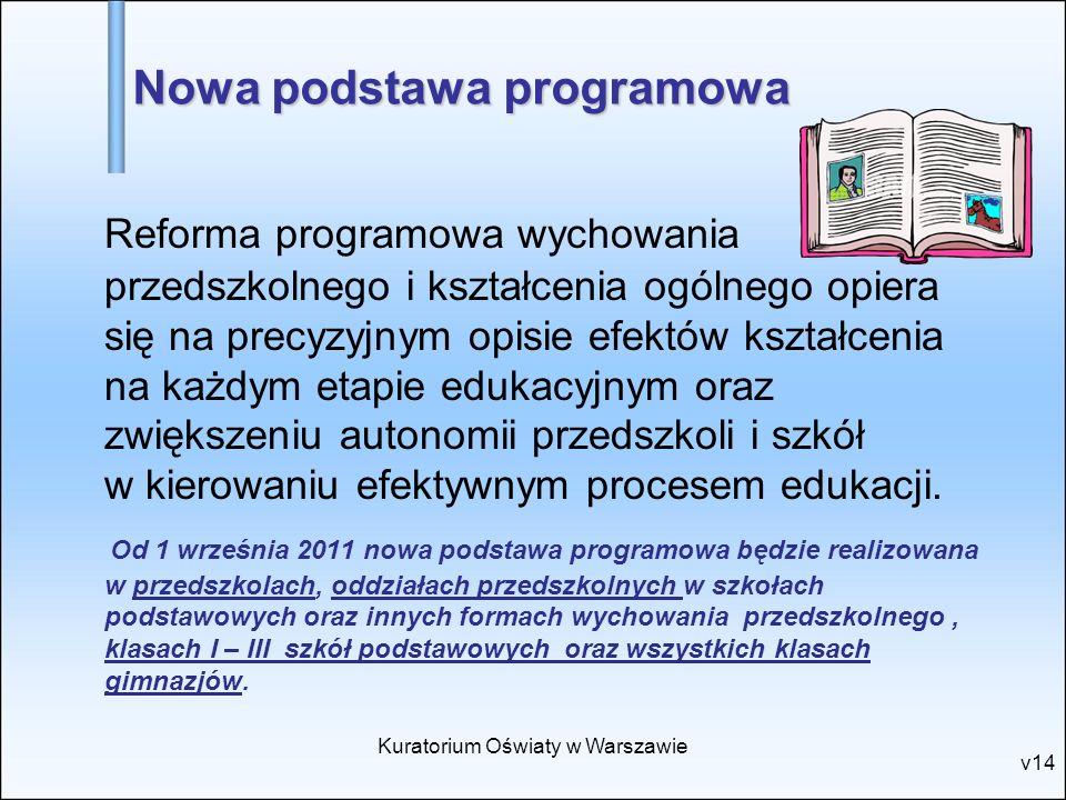 Kuratorium Oświaty w Warszawie v14 Nowa podstawa programowa Reforma programowa wychowania przedszkolnego i kształcenia ogólnego opiera się na precyzyj